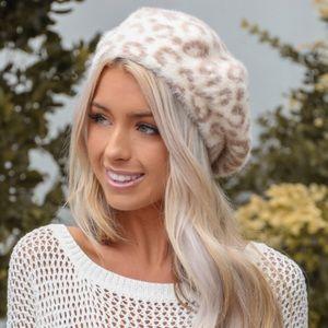 Fuzzy Leopard Print Beret Hat